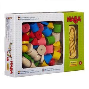 木のおもちゃ ビーズひも通し HABA ハバ カラービーズ・6シェイプ HA2155