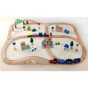 木のおもちゃ 木製レール だいわ 汽車レールセット アドバンス 97896