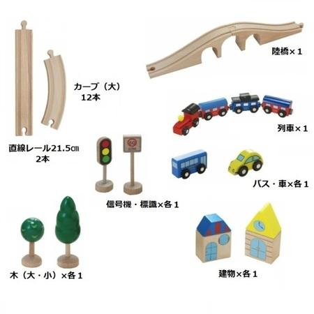 木のおもちゃ 木製レール だいわ 汽車レールセット(スタンダード)