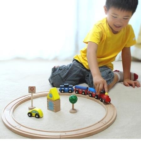 木のおもちゃ 木製レール だいわ 汽車レールセット(ベーシック)