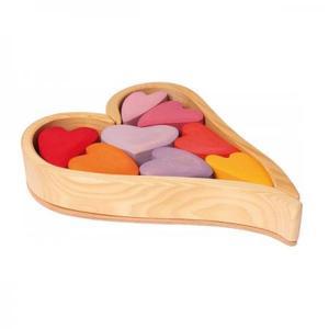 木のおもちゃ GRIMM'S グリムス ハートの積木・レッド GM10178