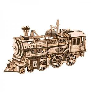 DIY つくるんです! Robotime 3Dウッドパズル 機関車LK701【日本語説明書付き】