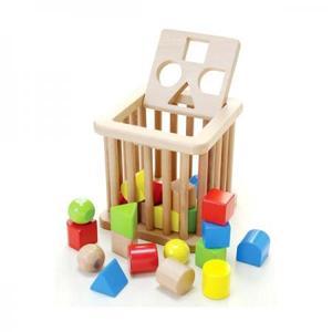 積み木 ブロック 形合わせ 木のおもちゃ だいわ 積木バスケット