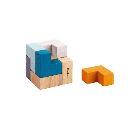 木のおもちゃ ゲーム インテリア PLANTOYS プラントイ 3Dパズルキューブ(缶入り)4134