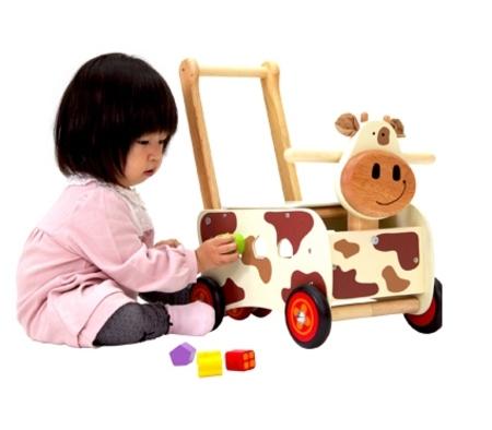 木のおもちゃ 乗用 I'mtoy アイムトイ ウォーカー&ライド カウ IM-87130
