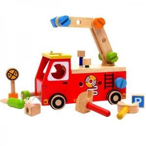 木のおもちゃ 組み立てあそび I'mtoy アイムトイ アクティブ消防車 IM-27050